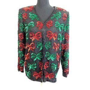 Vintage Laurence Kazar Silk Sequin Evening Jacket